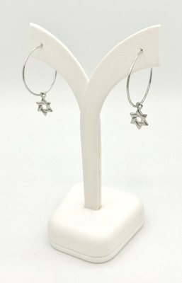 Oorbellen, Oorhangertjes in de vorm wit-goud verguld ringetje met kleine Davidster van de Israelische ontwerpster Marina