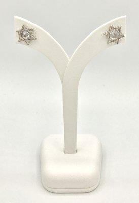 Oorknopjes met Davidster witgoud verguld met in het midden een kristal van de Israelische ontwerpster Marina