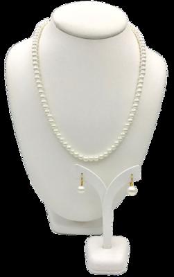 Complete Sieradenset van fijn parelcollier met oorbellen met vergulde details van Marina
