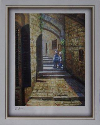 Reproductie: 2 kindertjes op de trappen in de Oude Stad Jeruzalem