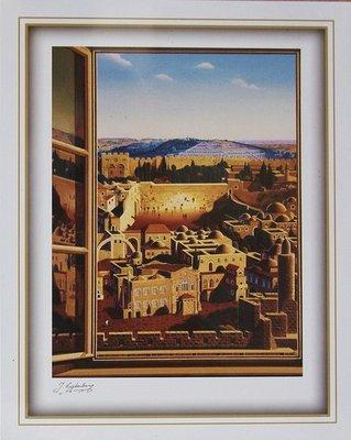 Reproductie: Raam met uitzicht op de Muur en de Olijfberg