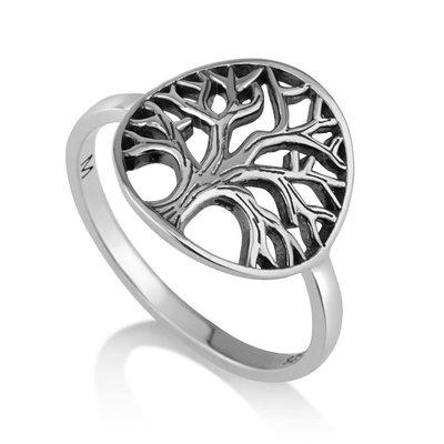Ring Levensboom, zilveren Ring met een sierlijk gevormde Levensboom van de Israelische ontwerpster Marina