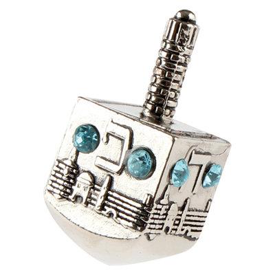Dreidel, kleine dreidel van nikkel met decoratie van Jeruzalem bezet met blauwe steentjes