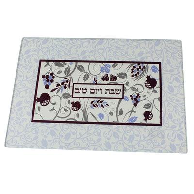 Challah / Challe schotel rechthoekig van versterkt glas met mooie decoratie van de 7 vruchten genoemd in Deut. 8:7 en 8