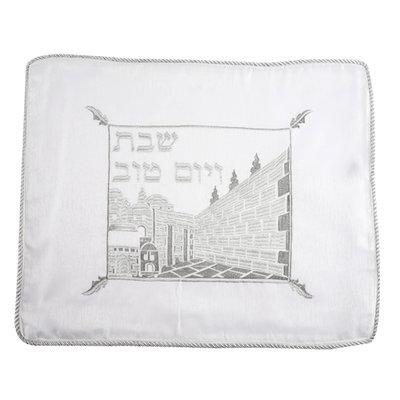 Challah / Challe kleedje, mooi neutraal kleedje van crèpe achtige witte stof met Jeruzalem borduursel en randafwerking van zilverdraad