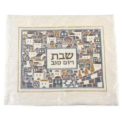 Challah / Challe kleedje, mooi neutraal kleedje van satijn met bijzonder Jeruzalem borduursel in goud, grijs en bruin