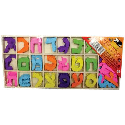 AlefBeth schrijfset/oefenset van hout, gekleurde letters van 2 cm ongeveer 4 per soort en aparte sluitletters