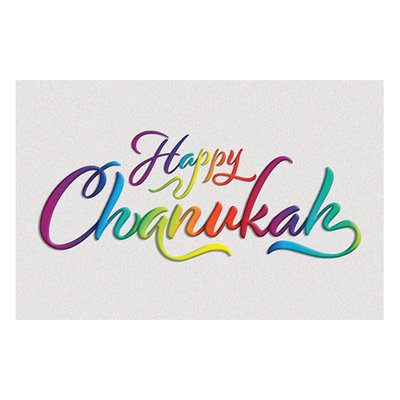 Chanukah kaarten, pakketje met 5 Chanukah kaarten met vrolijk gekleurde letters en de tekst: Happy Chanukah