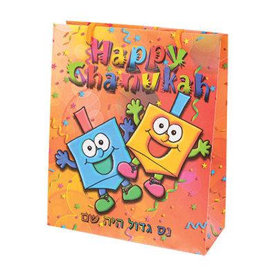 Cadeauverpakking voor Chanukah / Chanoeka, vrolijke cadeauzak met Dreidels en Happy Chanukah