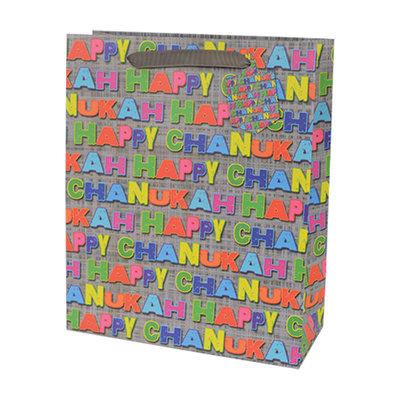 Cadeauverpakking voor Chanukah / Chanoeka, vrolijke cadeauzak large met Happy Chanukah in allerlei kleurtjes