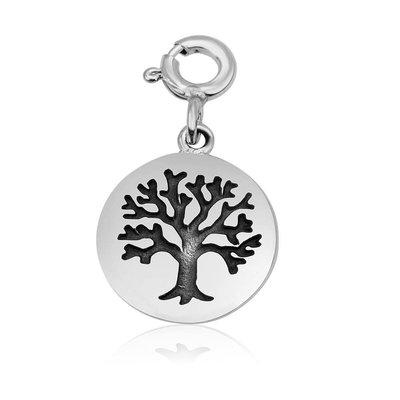 Levensboom bedeltje van zilver met clicksluiting