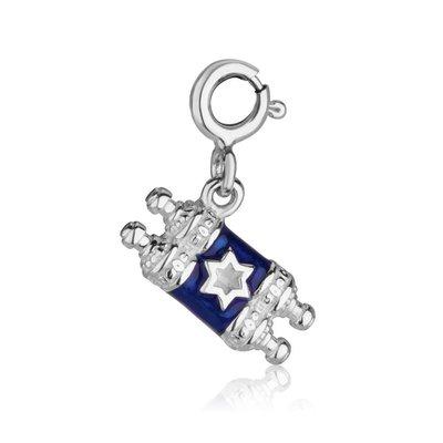 Torahrol bedeltje blauw/zilver met kleine Davidster en clicksluiting