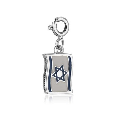 Bedeltje met de Israelische vlag blauw/wit/zilver met clicksluiting