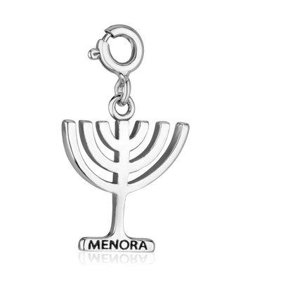Menorah /Menora bedeltje van bewerkt zilver met clicksluiting