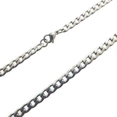 Herenketting / Mannenketting, roestvrijstalen basis ketting in zilverkleur met Gourmetschakels van 3,5mm leverbaar in verschillende lengtes