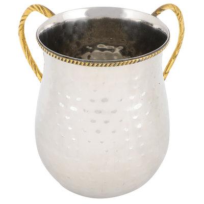 Mooie luxe gehamerd roestvrijstalen set van zilverkleurige waskom en kan met goudkleurige handvatten en bewerkte rand voor de rituele handwassing