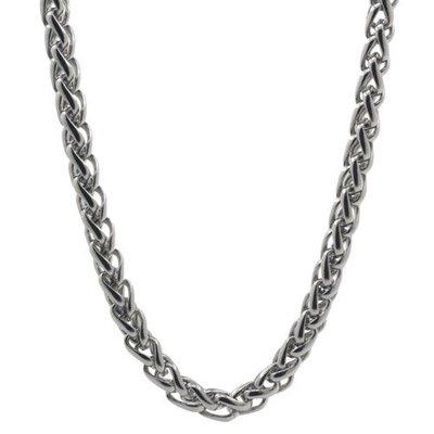 Herenketting / Mannenketting, stoere, roestvrijstalen basis ketting in oud-zilverkleur met gevlochten schakels van 3 mm leverbaar in verschillende lengtes