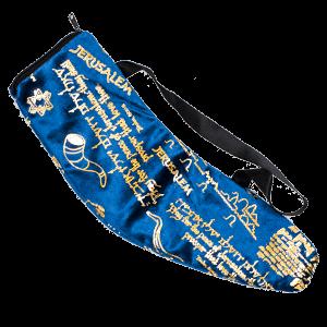 Tas voor grote Ramshoorn Shofar in prachtig donkerblauw fluweel met goudkleurige print 'Bid voor de vrede van Jeruzalem'
