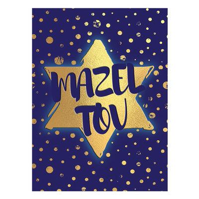 Felicitatiekaart, neutrale 'Mazeltov' donkerblauwe kaart met goudkleurige Davidster en stippen, passend voor elke gelegenheid waarbij u iemand wilt feliciteren