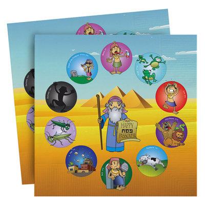 Vrolijk gekleurde Papieren Pesach Servetten met grappige afbeeldingen van de 10 plagen