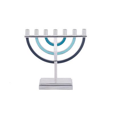 Menorah, prachtige 7-armige Menorah small van Yair Emanuel, uitgevoerd in nikkel met blauwe kleur accenten