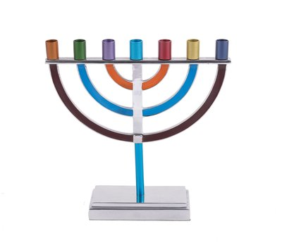 Menorah, prachtige 7-armige Menorah van Yair Emanuel, uitgevoerd in nikkel met vrolijke kleur accenten