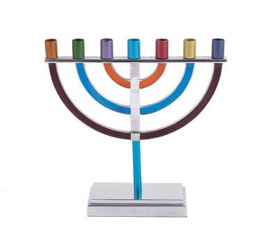 Menorah, prachtige 7-armige Menorah small van Yair Emanuel, uitgevoerd in nikkel met vrolijke kleur accenten