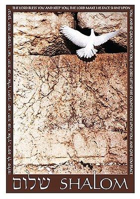 Bijbelse Wenskaart uit Israel met de 'Kotel' (Westelijke Muur) een vredesduif en het woord Shalom