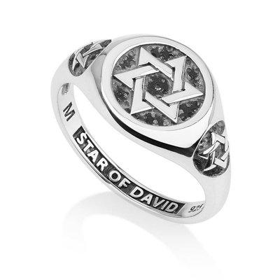Zilveren Ring van Marina uit Israel, model zegelring met 1 grote en 2 kleine Davidsterren