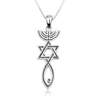 Hangertje met Messiaans Zegel, bijzonder zilveren hangertje van Marina met stoere uitstraling
