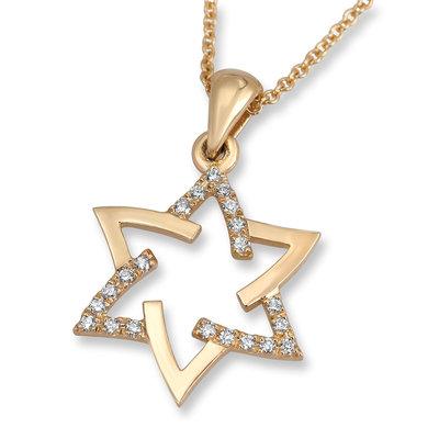 Davidster hangertje, schitterend 18K gouden Davidster hangertje in sierlijk design gedeeltelijk bezet met diamantjes uit de Rafael Jewelry collectie