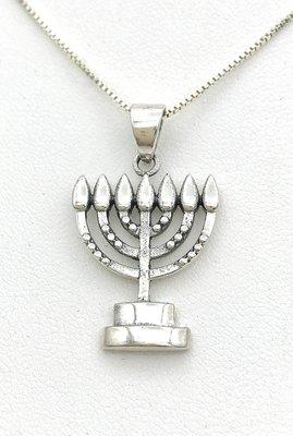 Menorah hangertje, Mooi solide design zilveren Menorah hangertje