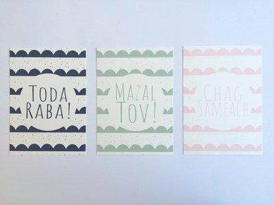 Set van 3 Hebreeuwse Ansichtkaarten van Ahavah design Mazal Tov, Chag Sameach, Toda Raba