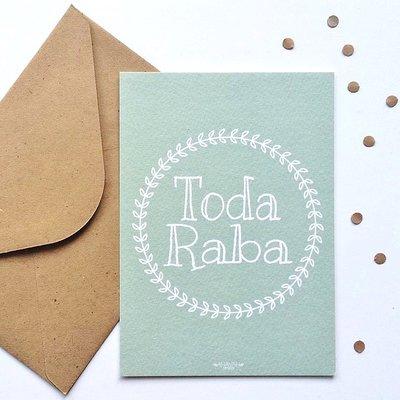 Kaart met envelop met Toda Raba (dankjewel) in mintgroen met Krans design van Ahavah design
