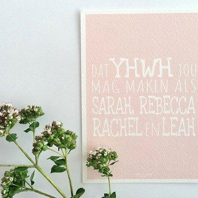 Kaart met envelop met de kinderzegen voor meisjes naar aanleiding van Ruth 4:11 in pastel roze van Ahavah design