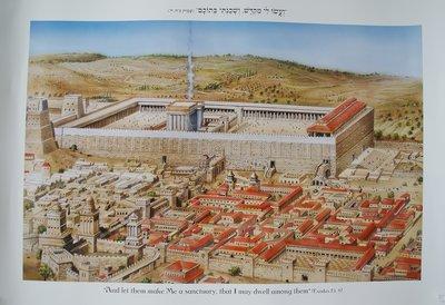 Poster uit Israel: Jeruzalem, de Tempel en de Olijfberg vanuit de Oude Stad gezien.