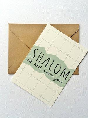 Kaart / Gebedskaart met envelop met de tekst 'Shalom ik bid voor jou' in gebroken wit met mintgroen van Ahavah design