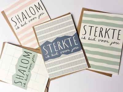 Kaartenset / Gebedskaarten set van 4 kaarten met envelop met een gebed ter bemoediging van Ahavah design