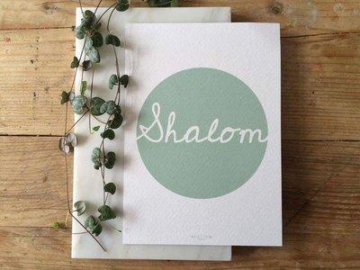 Poster / wanddecoratie in A5 formaat met Shalom (Vrede) in mintgroen