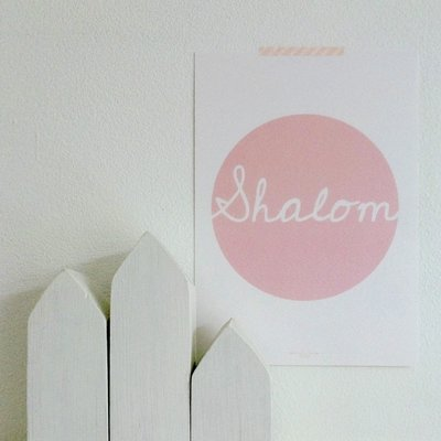 Poster / wanddecoratie in A5 formaat met Shalom (Vrede) pastel roze