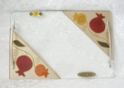 Handgemaakte Challah / Challe schotel rechthoekig met 2 handvatten uit de collectie van Lily Art