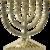 Reversspeld / broche met de Menorah / Menora in goudkleur