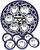 Seder schaal van Armeens aardewerk in blauw/wit met losse cupjes voor de verschillende onderdelen van de maaltijd