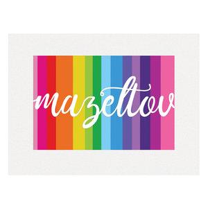 Felicitatiekaart, neutrale 'Mazeltov' kleurrijke kaart met glitterrand passend voor elke gelegenheid waarbij u iemand wilt feliciteren