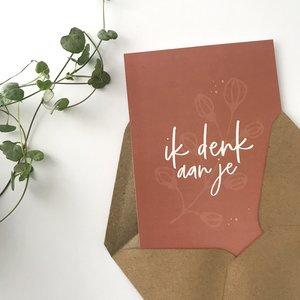 Heb Lief Kaart met envelop van Ahavah design met ik denk aan je in een mooie kastanje kleur