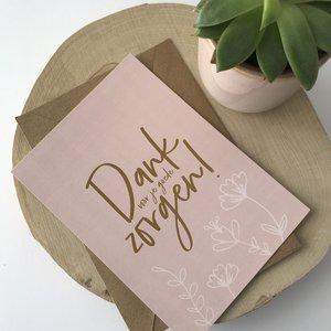 Heb Lief Kaart met envelop van Ahavah design met Dank voor je goede zorgen in vergrijsd roze