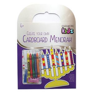 Werkje voor Chanukah: Versier je eigen Chanoekia van karton met krijtjes, steentjes en glitters