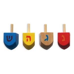 Dreidels, setje van 4 verschillend gekleurde houten dreideltjes, 4 cm hoog