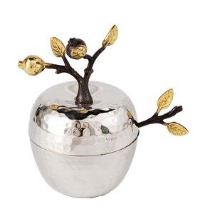 Honingpotje van Yair Emanuel prachtig uitgevoerd in gehamerd zilverkleurig metaal met vergulde granaatappeltjes