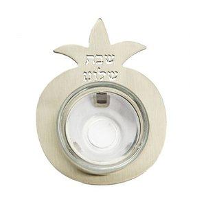 Mini honingpotje / zoutschaaltje van Yair Emanuel, uitgevoerd in metaal in de vorm van een Granaatappel met de tekst: Shabbat Shalom